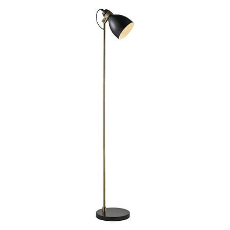 Versanora - Quincy Floor Lamp with Black Marble Base - Black/Antique Brass