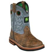 Johnny Popper Western Boots Boys Stitched John Deere Bark Denim JD1317