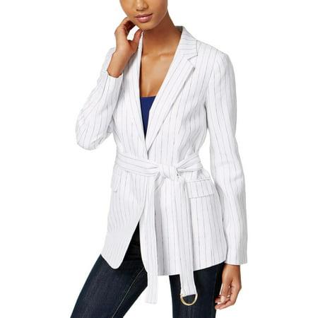 MICHAEL Michael Kors Womens Linen Pinstripe Two-Button Blazer