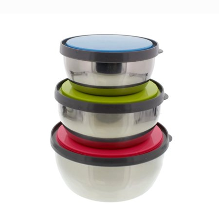 Chetfor Set of 3 Portable Organizers Mixing Bowls Stainless Steel Lunch Box and Food Storage Containers with Color Plastic Lids for Kitchen, Camping, Lunch and Office 3 pcs ()