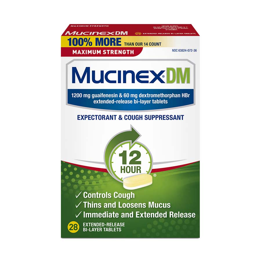 Mucinex DM Maximum Strength Expectorant and Cough Suppressant, 28 count