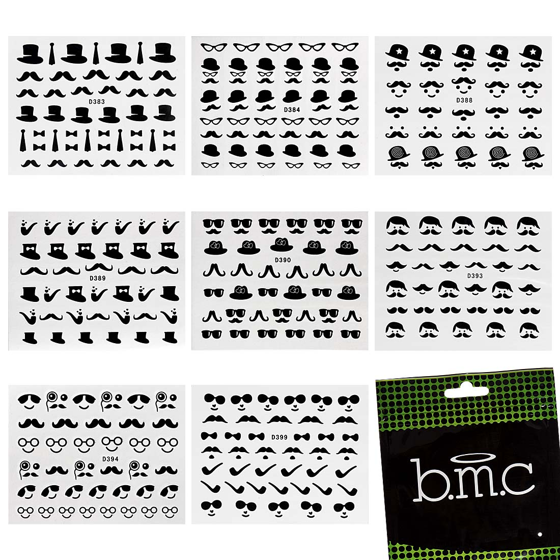 BMC 8 Sheet Nail Art Tattoo Decoration Effects Water Transfer Decal Stickers Set
