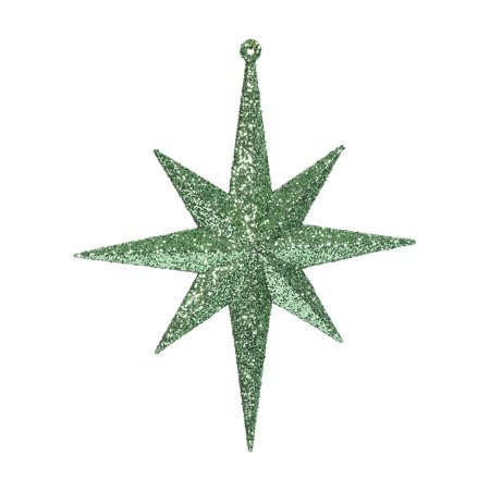 "Vickerman 8"" Celadon Glitter Bethlehem Star Ornament 4/Box"