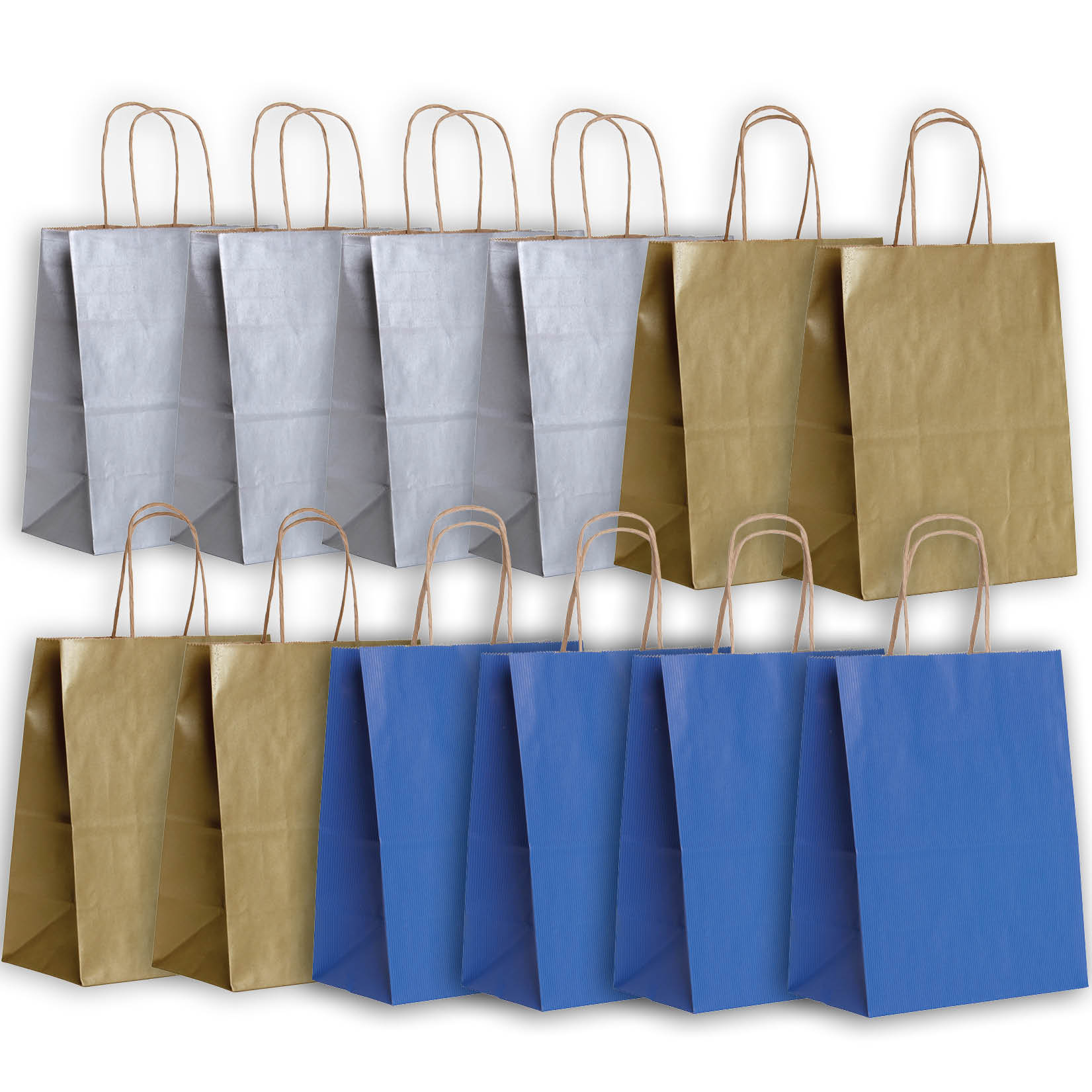 Jillson & Roberts Eco-Friendly Kraft Medium Gift Bag Assortment, Hanukkah (12 Bags)
