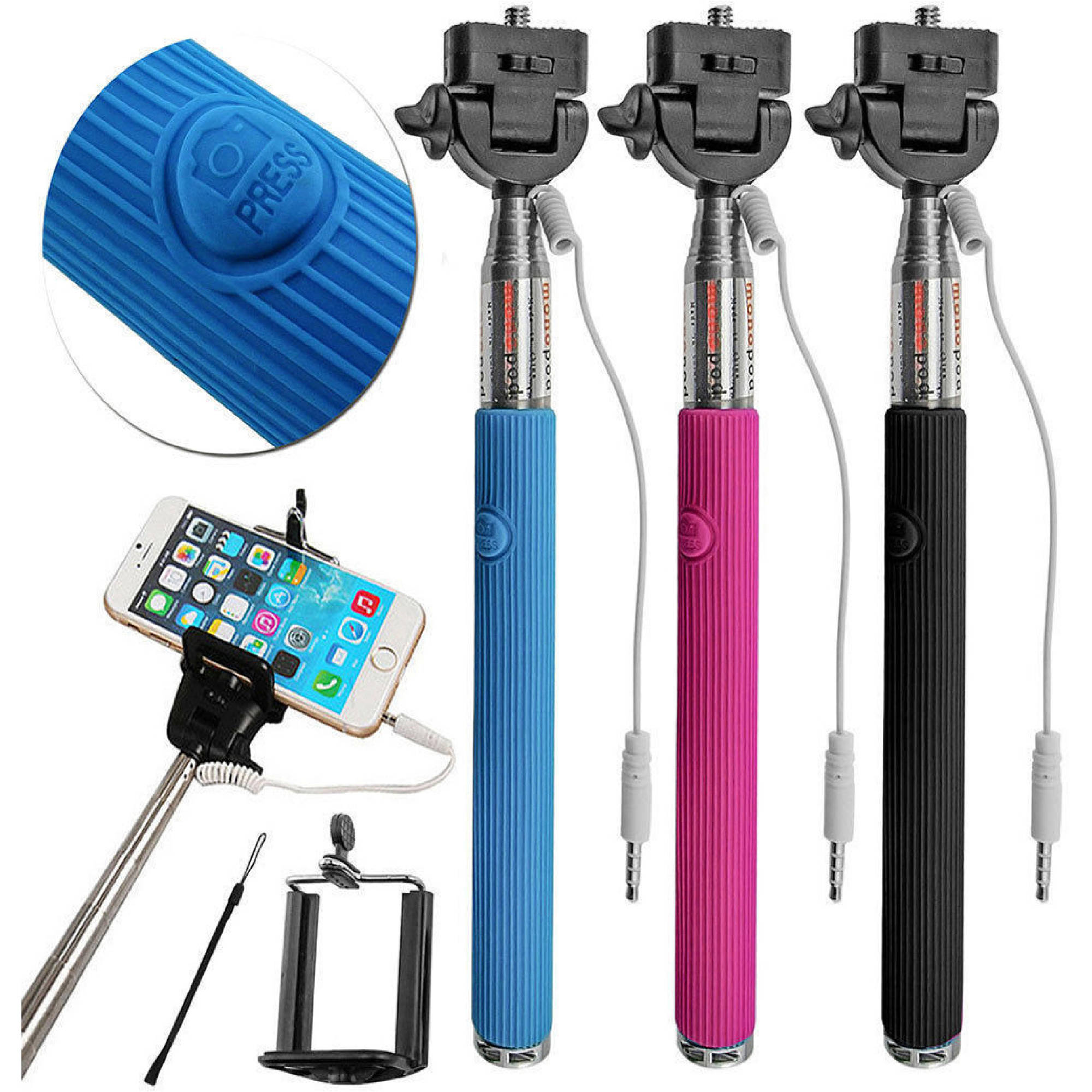 "Carco Go Selfie Stick Wired Shutter 42"" for iPhone, Samsung Galaxy and Android phones"