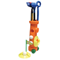 Kids Klubs - Childrens Plastic Rolling Golf Bag with a Set Clubs, Balls, Cups, and Flag