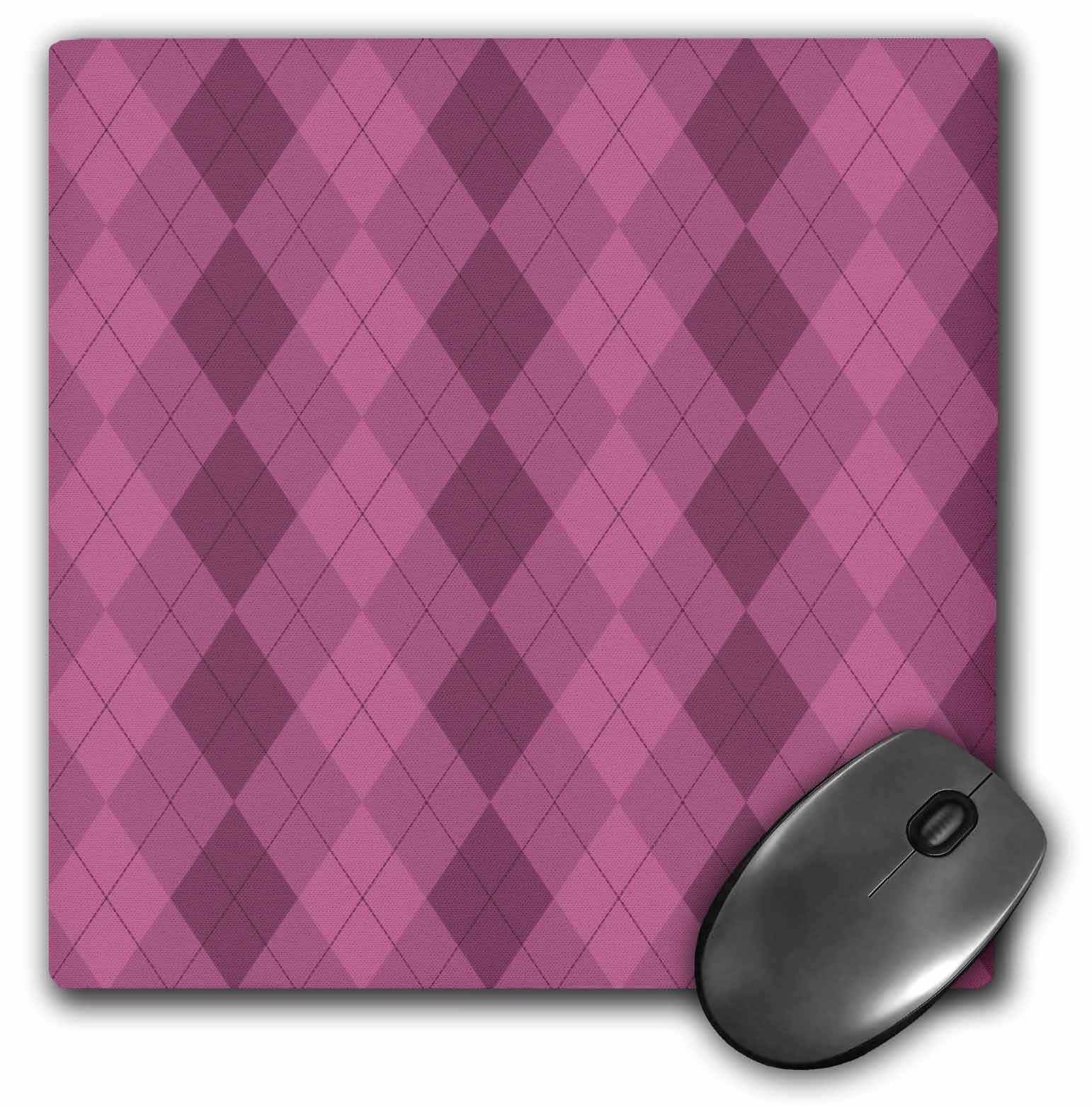 3dRose Triple Pink Argyle Pattern - Fashionable Art, Mouse Pad, 8 by 8 inches