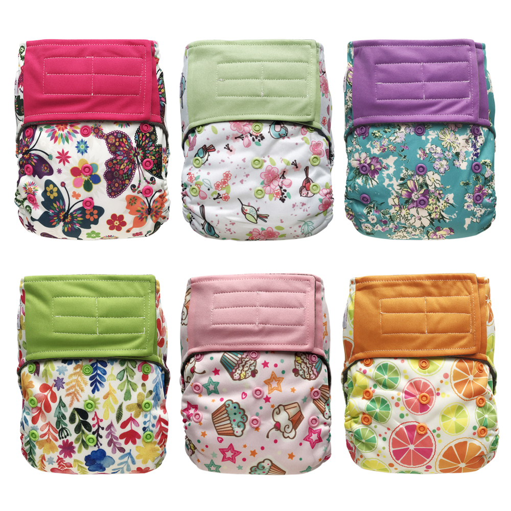 Hook-and-Loop All-in-one AIO Cloth Diapers w/ Pocket, 6-pack Bundle + 6 Inserts, Baby Girl