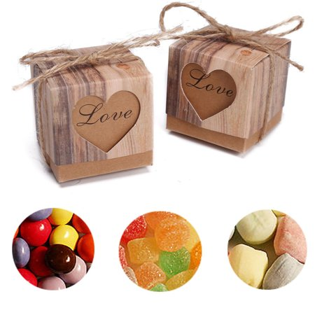 Meigar 50/100pcs Lover Words Wedding Favors Candy Boxes 2x2x2Inch Love Heart Rustic Kraft Gifts Bonbonniere Favor for Vintage Bridal Shower Party Birthday Baby Shower Decoration](Rustic Bridal Shower Favors)