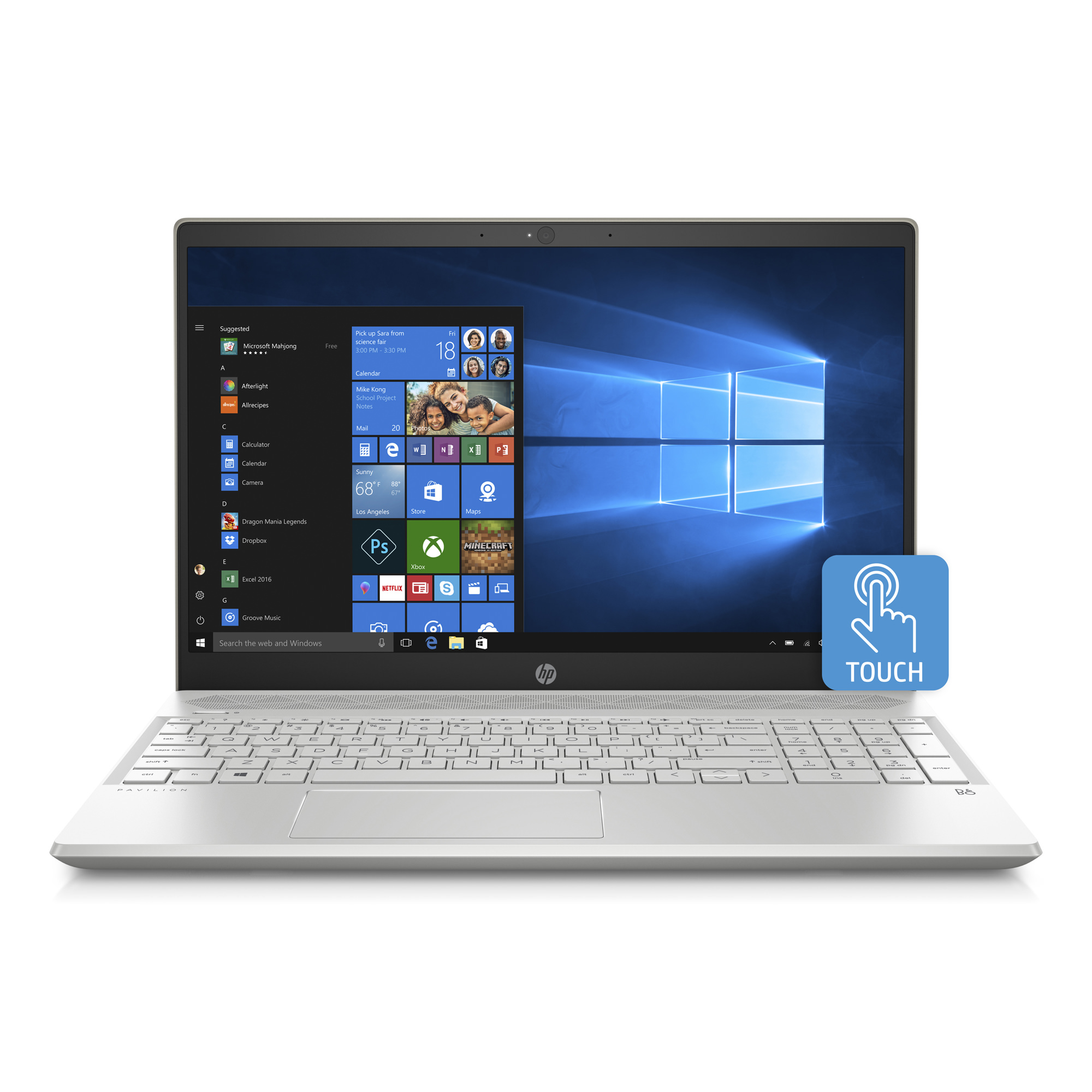 HP Pavilion 15-CS0079NR Ceramic White and Pale Gold 15.6 inch Touch Laptop, Windows 10, 8GB Memory, 1 TB Hard Drive, UMA Graphics, B&O Play