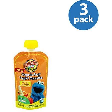 (3 Pack) Earth's Best Organic Peach Banana Organic Fruit Yogurt Smoothie, 4.2 oz
