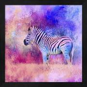 Jazzy Zebra Pink And Purple by Jai Johnson, Framed Wall Art, 13.25W x 13.25H