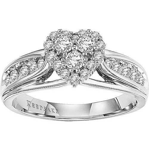 Keepsake Hearts Desire 5/8CTW Diamond 14kt White Gold Engagement Ring