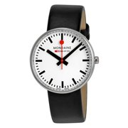Womens Stainless Steel Silver Case Black Leather Band White Dial Round Watch - A763.30362.11SBB