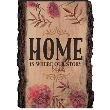 HOME IS WHERE OUR STORY BEGINS Wooden Barky Sign, 4.25