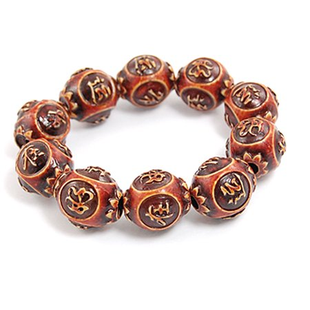 Unique Bargains Chinese Keep Lucky Words Wooden Beads Prayer Bracelet