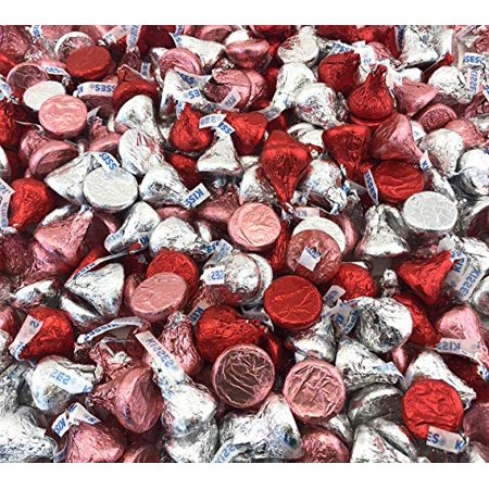 Pink And Silver Hershey Kisses (Hershey's Kisses Valentine's Milk Chocolate, Pink Silver and Red Foils (Pack of 1)
