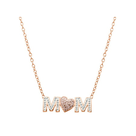 Luminesse 'Mom' Pink Heart Necklace with Swarovski Crystals in 18kt Rose Gold-Plated Sterling Silver Swarovski Crystal Gold Plated Pendant