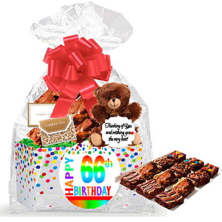 66th Birthday / Anniversary Gourmet Food Gift Basket Chocolate Brownie Variety Gift Pack Box (Individually Wrapped) (Chocolate Gift Basket)