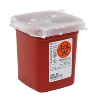 Phlebotomy Sharps Container, SharpSafety 4-1/4 H X 4-1/4 D X 4-1/2 W Inch 1 Pint Red Vertical Entry Lid, 8901SA - EACH