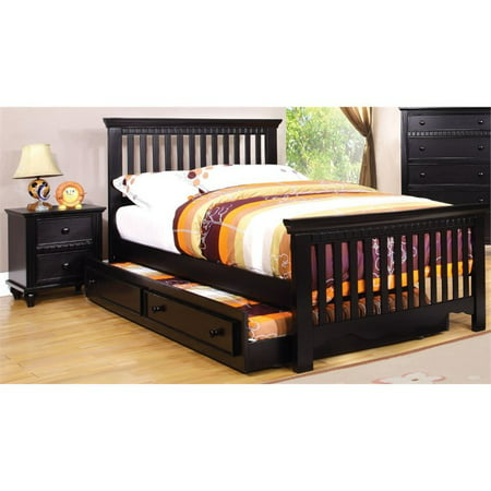 Furniture of America Dresden Etched 2 Piece Twin Slat Bedroom Set in Black