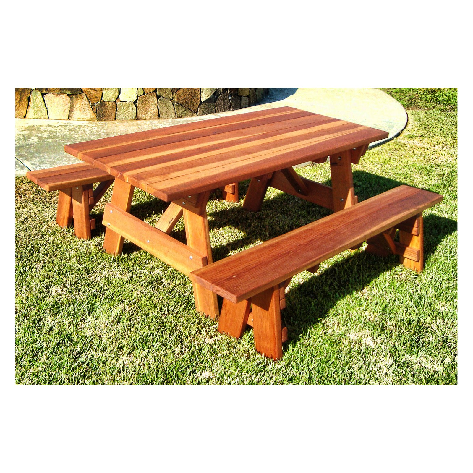 Best Redwood Outdoor Farmers Picnic Table and Benches by RTMEX Inc