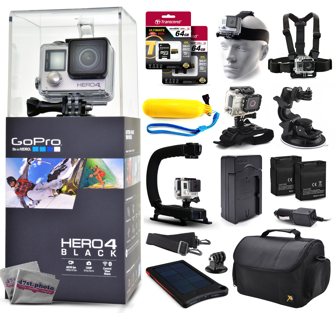 Buy GoPro Hero 4 HERO4 Black CHDHX-401 with 128GB Ultra Memory + Solar Charger + Headstrap + Chest Harness + Floaty Bobber +... by GoPro
