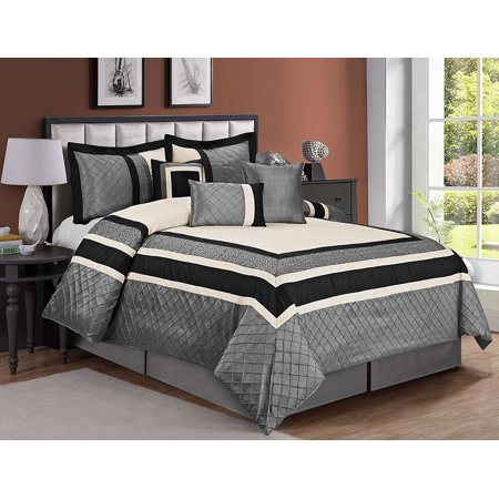 Mallen Home 7 Piece Embroidery and Pin Tuck Comforter Set Faux Silk Fabric King Size Gray Color Faux Silk Comforter