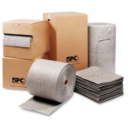 Brady 15'' X 19'' SPC MRO Plus Gray 3-Ply Meltblown Polypropylene Dimpled Perforated Full Size Heavy Weight Sorbent Pad (100 Per Case)