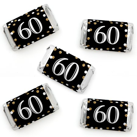 Adult 60th Birthday - Gold - Mini Candy Bar Wrappers Birthday Party Favors - 40 Count