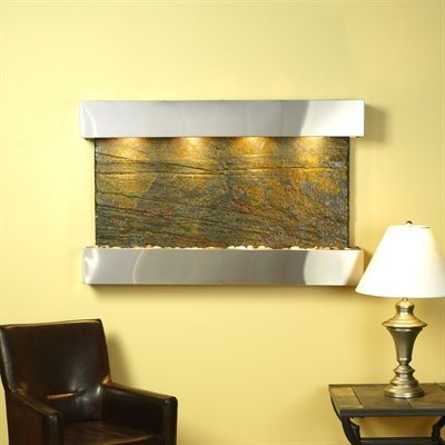 Natural Slate Water Wall - Adagio Sunrise Springs With Green Natural Slate in Stainless Steel Finish and Sq