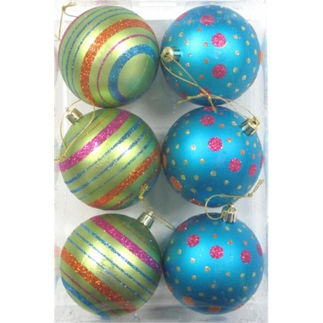 Queens of Christmas WL-ORN-6PK-LD-MDGR White Ball Ornament with Mardi Gras Dot Line Design, Pack of 6 - image 1 de 1