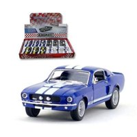 "KINSMART DISPLAY 1967 SHELBY GT-500 WITH STRIPES 1:38 4.8"" DIECAST CAR BLUE COLOR NO RETAIL BOX"