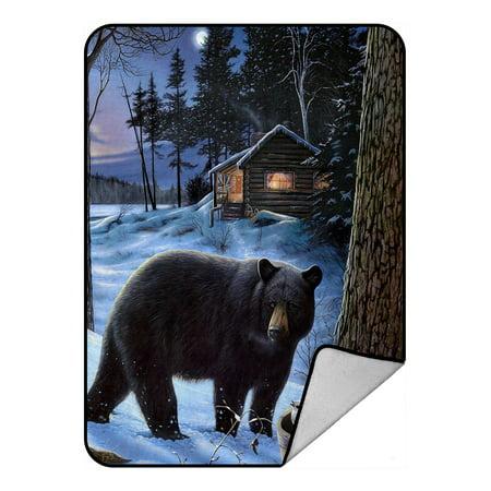 - GCKG Winter Bear Fleece Blanket Crystal Velvet Front and Lambswool Sherpa Fleece Back Throw Blanket 58x80inches