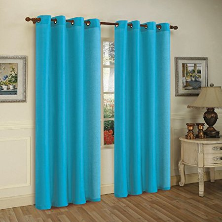 3-Pack: Curtain Panels with Grommets - Assorted Colors (Aqua Curtain)
