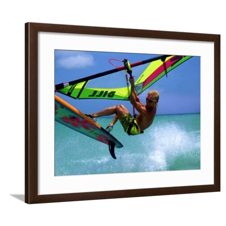 Windsurfing Jumping, Aruba, Caribbean Framed Print Wall Art By James Kay ()