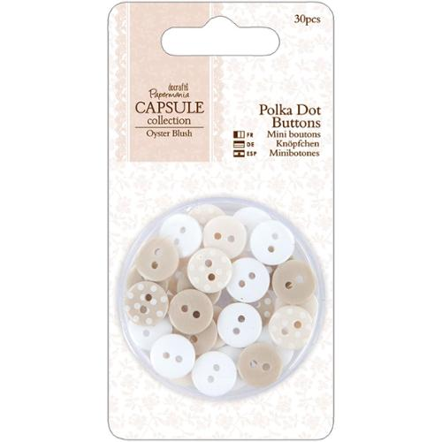 docrafts Papermania Oyster Blush Buttons 30/Pkg-Polka Dot