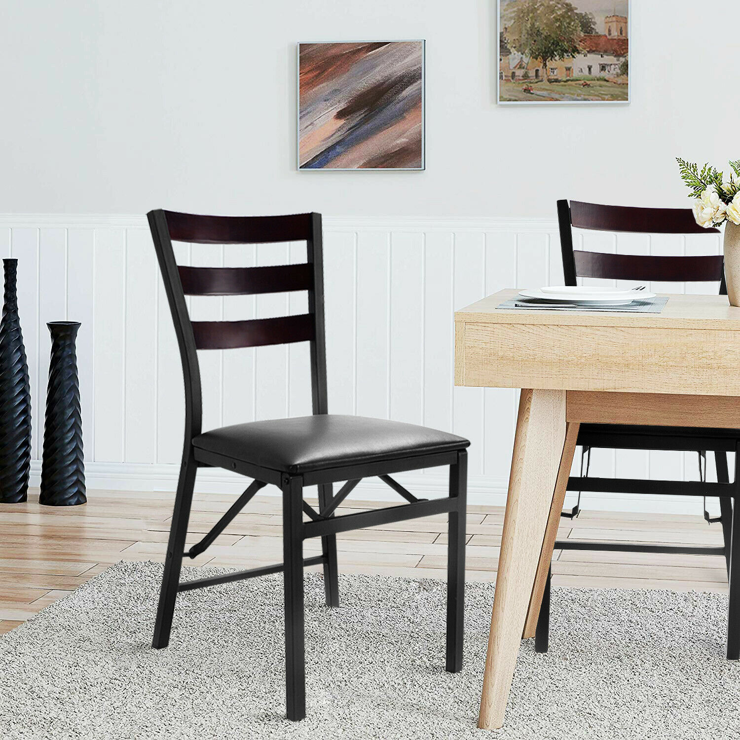 Gymax 2PC Folding Chair Home Restaurant Furniture - image 5 of 8