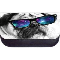 """Black and White Pug in Galaxy Glasses  - 5"""" x 8.5"""" Black Multi-Purpose Cosmetic Case - with 2 Zippered Pockets and Nylon Lining"""