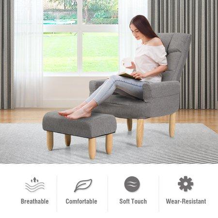 Remarkable Costway Lazy Sofa Armchair Adjustable Backrest Headrest Evergreenethics Interior Chair Design Evergreenethicsorg