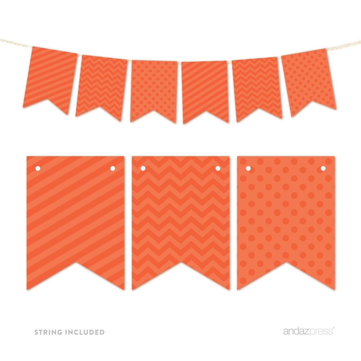 Tangerine Orange Hanging Pennant Banner Party Garland Decor