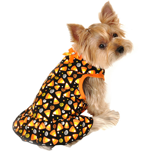 Simplydog Black Candy Corn Swirl Dress ,