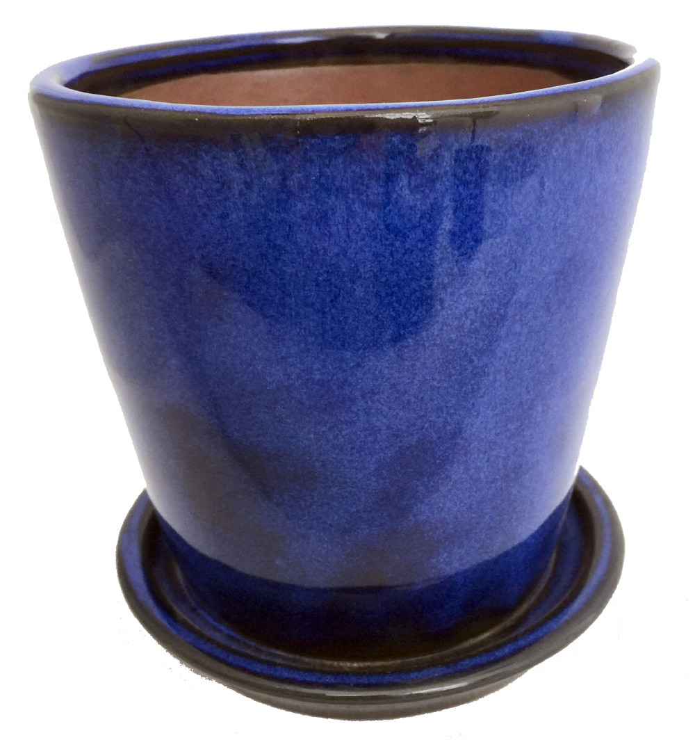 Round Ceramic Planter And Saucer 5 5 Quot Cobalt Blue