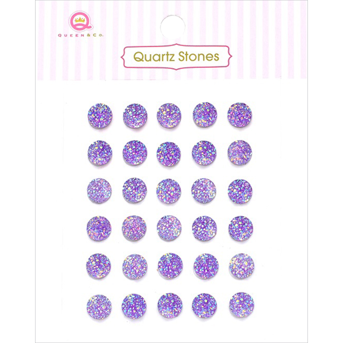 Quartz Stones Self-Adhesive Embellishments 30/Pkg-Purple