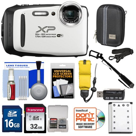 Fujifilm FinePix XP130 Shock + Waterproof Wi-Fi Digital Camera (White) with 32GB Card + Battery + Cases + Float Strap + Selfie Stick + Kit
