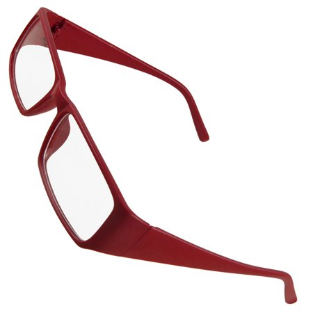 Women Red Plastic Full Frame Clear Lens Plano Eyewear Glasses