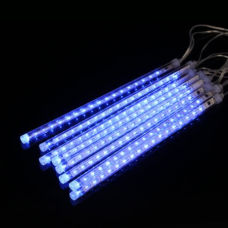 Finether 13.1 ft 8 Tube 144 LED Meteor Shower Rain Snowfall Plug-In String Lights for Holiday Christmas Halloween Party Indoor Outdoor Decoration Commercial Use, Blue Glow - Outdoor Halloween Decoration Clearance