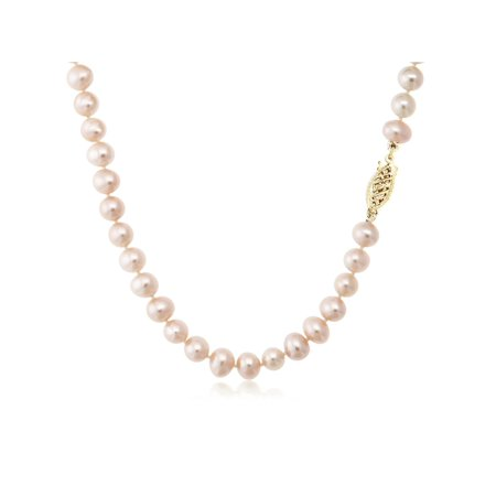 Pink Cultured Freshwater Pearl Necklace and Earring Set In 14K Yellow Gold - image 4 of 5