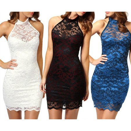 Women's Sexy Fashion Lace Slim Dress Elegant Halter Collar Party Dress Vestidos Femininos - Vestito Halloween