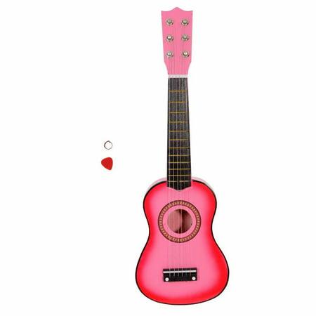 "21"" Acoustic Guitar Pick String Pink for beginer for children music instrument"